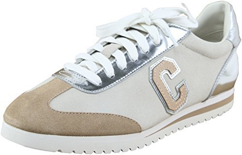 Coach Womens Ian Mirror Metallic Sudee Silver Chalk Lace-Up Sneakers 9 B US Wome