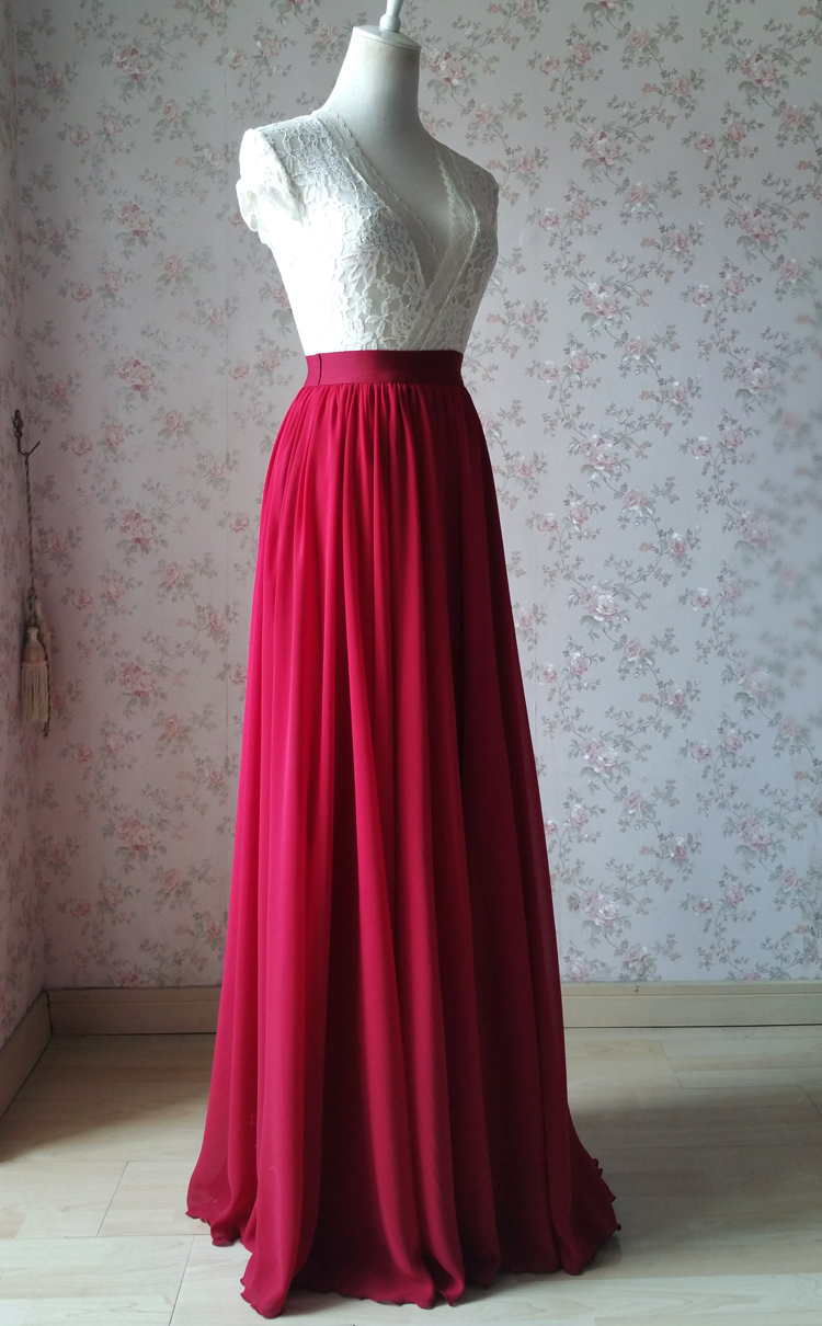 Chiffon skirt maxi red 101 1