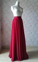 RED Bridesmaid Chiffon Maxi Skirt Plus Size Red Full Long Chiffon Wedding Skirt image 5
