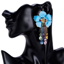 Women Fashion Rhinestone Dangle Earrings  Floral Pattern Alloy Acrylic M... - $11.09