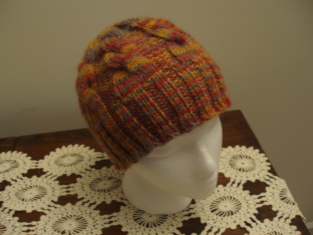 Hat knit child's autumn colors