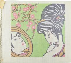 "1970's Vintage Hand Painted Canvas Geisha Am I The Fairest of All 14"" x ... - $40.19"