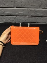 100% AUTH CHANEL Boy WOC Quilted Patent Leather Orange Wallet on Chain Flap Bag  image 4