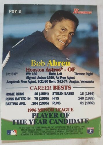 1996 Bowman Player of the Year Candidate #POY3 Bobby Abreu Houston Astros Card