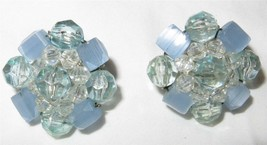 Vintage c1940 Aqua and Blue Lucite Cluster Button Earrings Signed Germany - $12.66