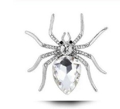 Stunning Diamonte Silver Plated Vintage Look SPIDER Pin Christmas Brooch Cake B7 - $12.53