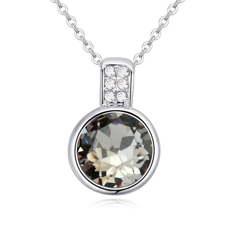 New Fashion Mini Round Pendant Collares Crystals From Swarovski Necklaces For Wo image 3