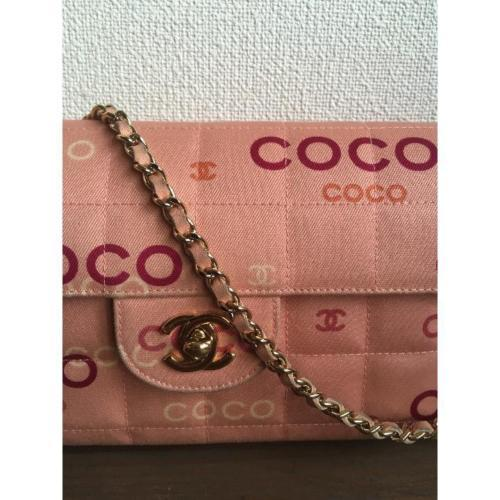 e7837b84b771e7 Auth CHANEL Shoulder Bag Pink Matelasse Chocolate Bar Flap Logo Pouch B1433