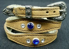NEW HATBAND Scalloped TAN Leather w/ NAVY + CLEAR CRYSTALS & Buckle Set ... - €25,64 EUR