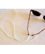 Pearl Eyeglass Leash, White Eyeglasses Chain, Beaded Lanyard - $12.00