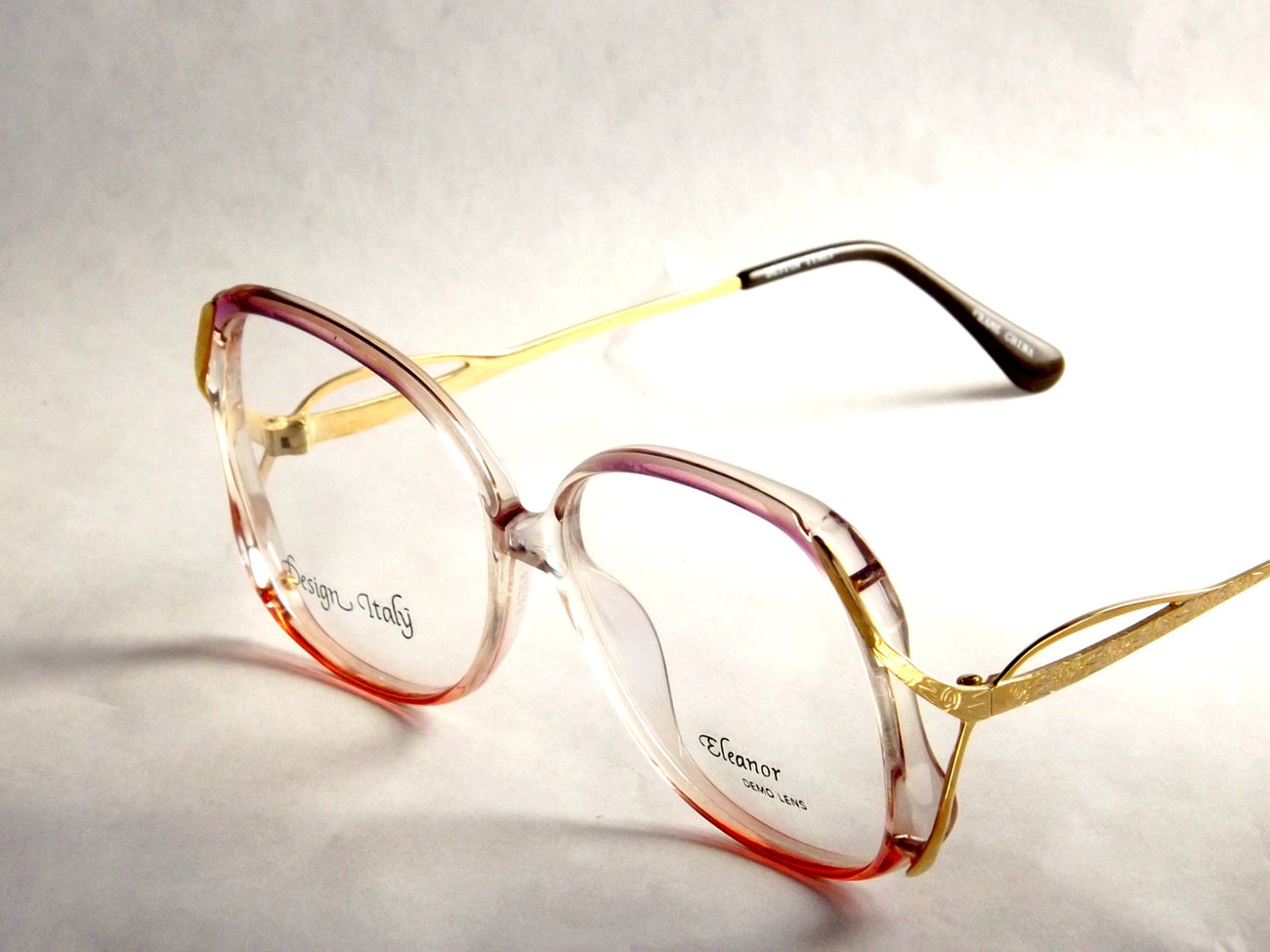 Vintage Salmon Pink and Gold Eyeglass Frames, Womens Funky ...