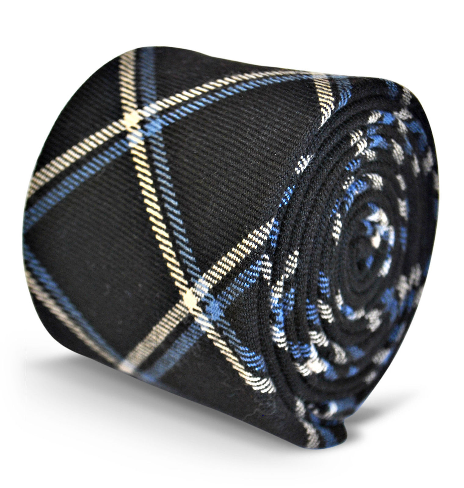 Frederick Thomas mens wool tweed tie in navy blue with white & blue check FT3120