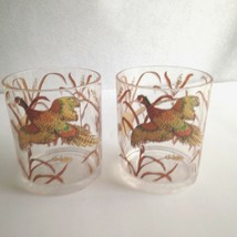 "Vintage Pheasant Tumbler Cup Plastic Resin 4"" Tall Brown Gold Bird Design - $11.83"