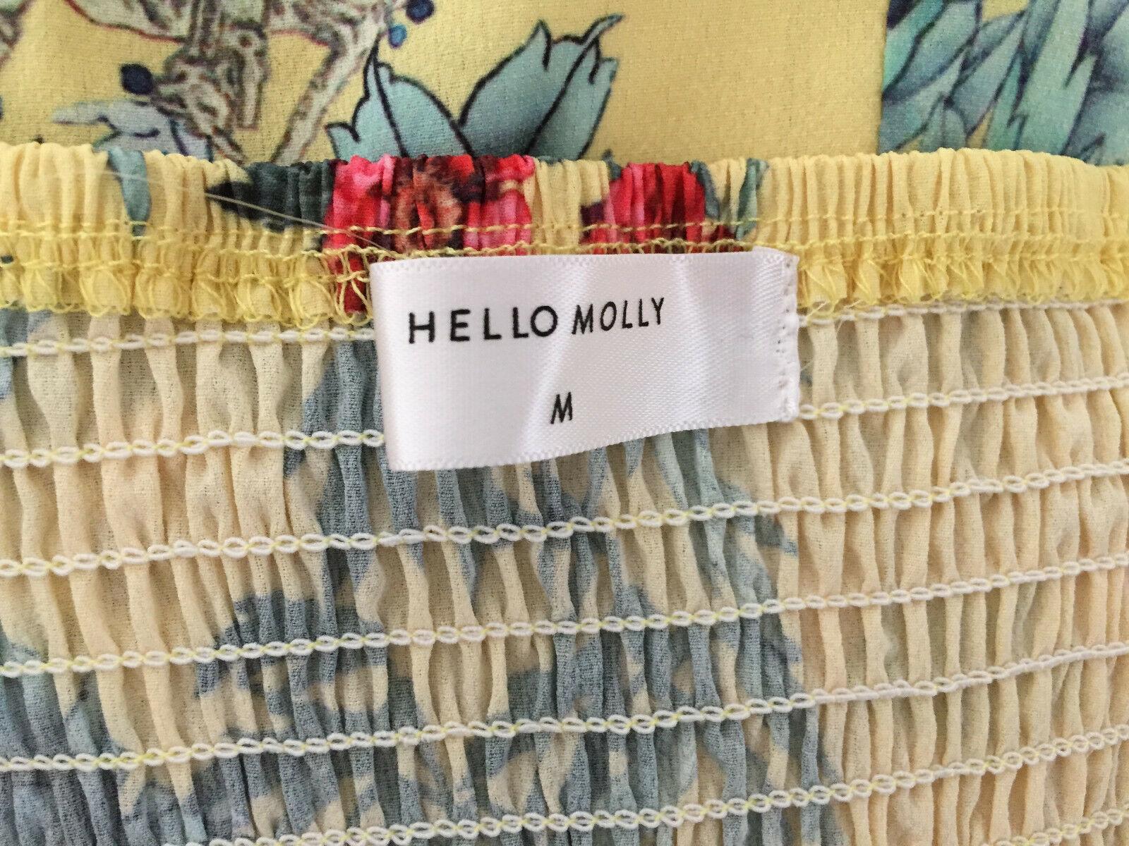 Hello Molly Yellow Floral Print Spaghetti Strap Mini Romper sz Medium