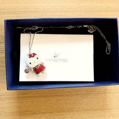Primary image for Hello Kitty SANRIO SWAROVSKI Lollipop Pendant Necklace Red Candy Clear Crystal