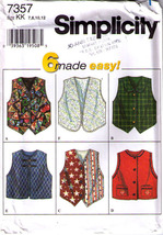 1996 SET OF VESTS Simplicity Pattern 7357 Girl's Sizes 7-8-10-12 - UNCUT - $12.99