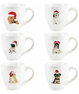 6 Assorted 24 oz Dog with Christmas Hat Mugs by Home Essentials - $62.32