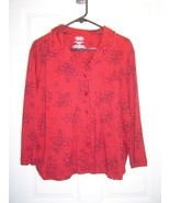 Cabenet Petites pxl Red Long Sleeve Blouse. - $12.95