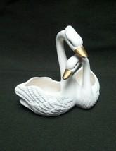 Ceramic Swan Figurine White Gold Bird Art Love Pair Mini Planter Shelf S... - $8.95
