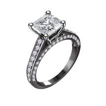 Princess Cut Diamond Womens Simple Engagement Ring 14k Black Gold Fn 925 Silver - £57.00 GBP