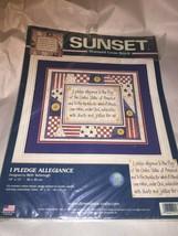 Sunset I Pledge Allegiance Patriotic Stamped Cross Stitch Kit - $8.54