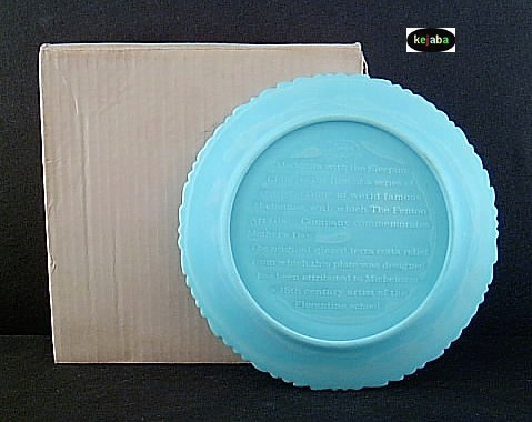 Fenton Blue Satin 1971 Mothers Day Plate Mib No. 2