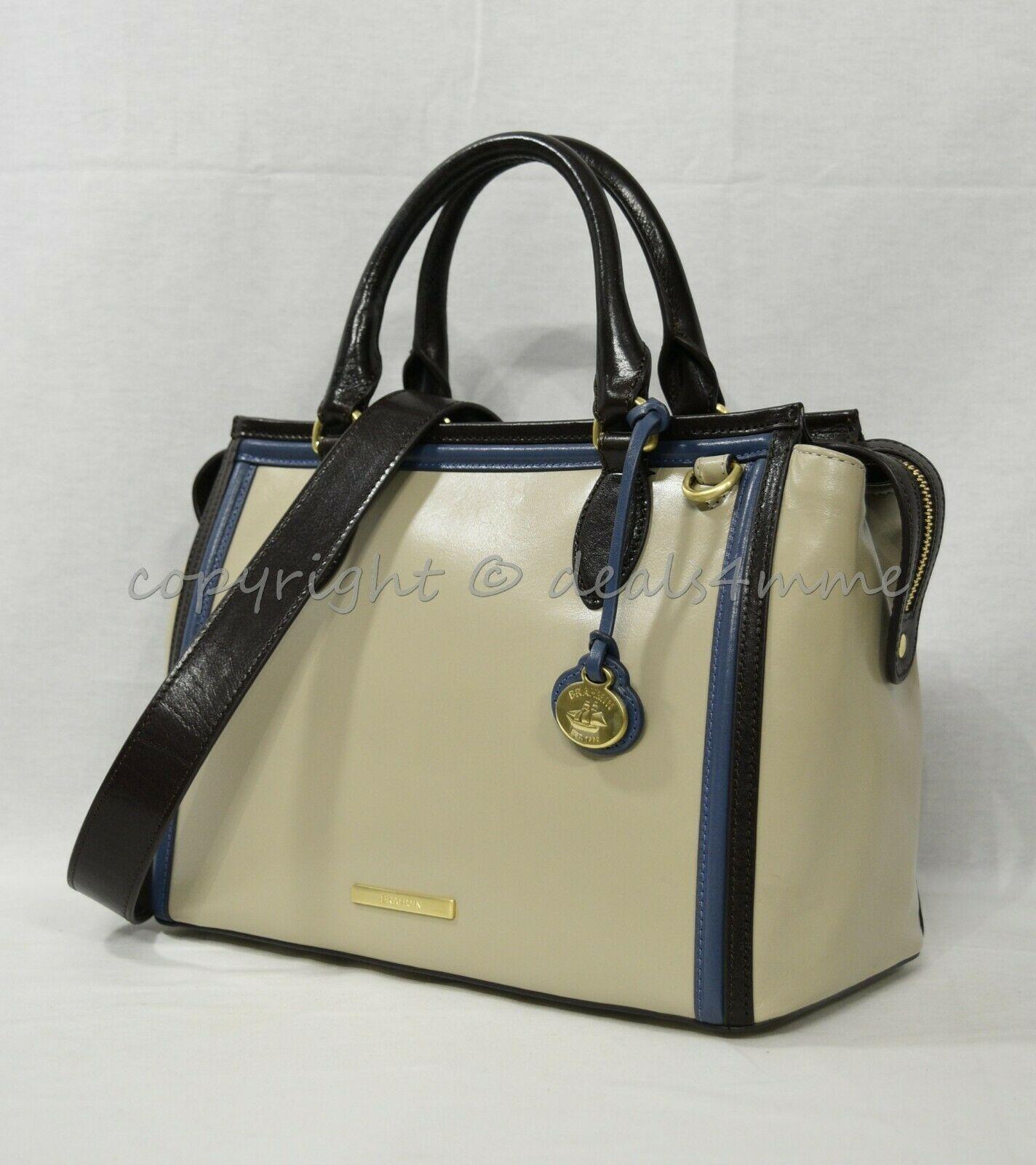 NWT Brahmin Schooner Smooth Leather Satchel/Shoulder Bag in Sand Westport