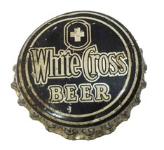 White Cross Beer Bottle Cap Red Wing Silver Black White Silver Cork Lining - $5.93