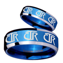 His Hers Multiple CTR Beveled Edges Blue 2 Tone Tungsten Custom Ring for... - $79.98
