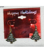 Happy Holidays Christmas Tree Dangle Earrings New - $8.99