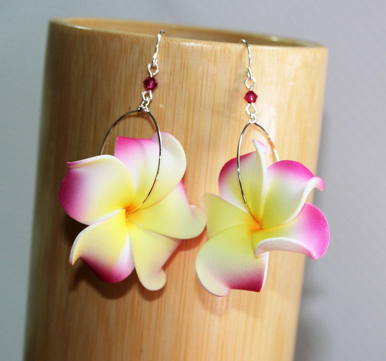 Handmade of Maui Tropical Plumeria Flower Hoop Earrings with Swarovski Crystals