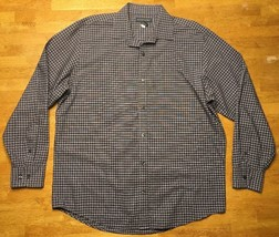 Banana Republic Men's Brown & White Checkered Long Sleeve Dress Shirt Size Large - $14.99