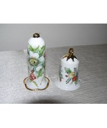 Lot of 2 Floral Painted White Porcelain Bells Christmas Tree Ornaments –... - $9.49