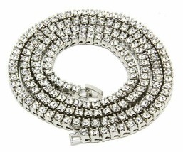 """Iced Out Hip Hop Silver Platinum CZ 1 Single Row Chain 30"""" Bling Necklace - $16.82"""