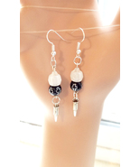 glow in the dark cross bullet earrings long bead dangles handmade jewelry  - $5.99
