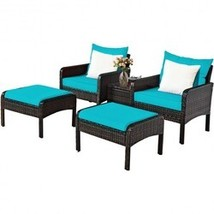5 Pcs Patio Rattan Furniture Set Sofa - Color: Turquoise - $460.42