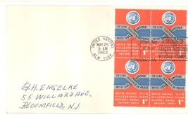 United Nations first day cover 1 cent block of 4 May 25, 1962 - $1.99