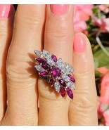 Vintage Midcentury 1950s Retro Platinum 4.50ct Ruby VS Diamond Ring - $3,262.05