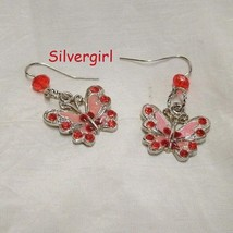 Tibetan Silver Butterfly Crystal Rhinestone Dangle Earrings Red/Pink - $9.99