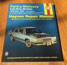 Ford & Mercury 1973-1986 Full Size Models Haynes Repair Manual Book 36036 - $15.99