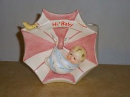 Napco Japan Ceramic BABY PLANTER Baby in Blanket Umbrella Pink & Blue 1960s - $34.64
