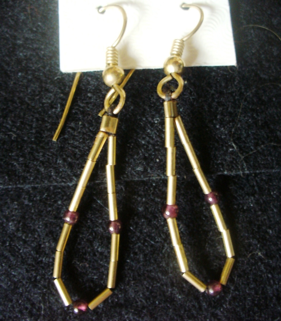 Primary image for Liquid 12/20 GF Gold & Garnet Looped Dangle Earrings