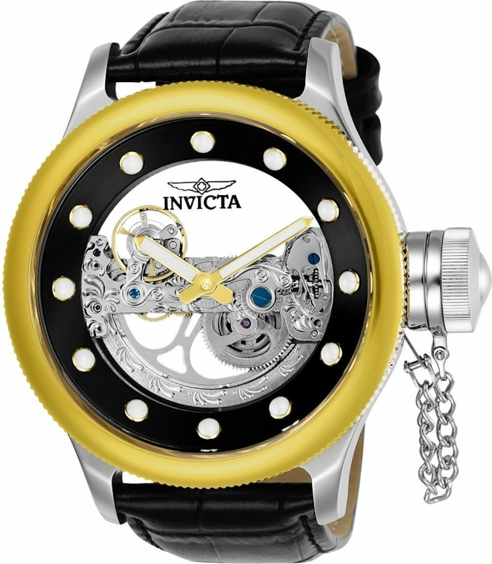 BRAND NEW INVICTA RUSSIAN DIVER 24594 GOLD BEZEL SILVER STAINLESS MENS WATCH - $177.20