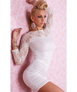 Sexy Lingerie Lace sleeves Mini Dress White 2271 - $22.40
