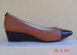 NEW ANNE KLEIN BROWN BLACK WEDGE LEATHER PUMPS SIZE  8.5 M $80 - $47.99