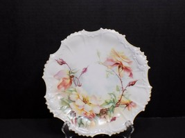 Antique Coiffe Limoges France Signed Yellow Pink Roses Plate - $39.60