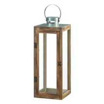 Large Square Wooden Candle Lantern w/ Galvanized Metal Top, Glass Panes image 1