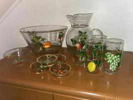 Vintage Set Of Hand-painted Glassware Set - $123.75
