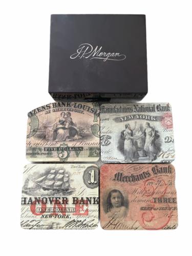 Vintage RARE JP Morgan Chase Bank Coaster Set Case Advertising Collectible