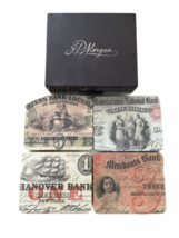Vintage RARE JP Morgan Chase Bank Coaster Set Case Advertising Collectible image 1